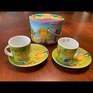 Porcelain Espresso set 2 Cups & 2 Saucers colorful